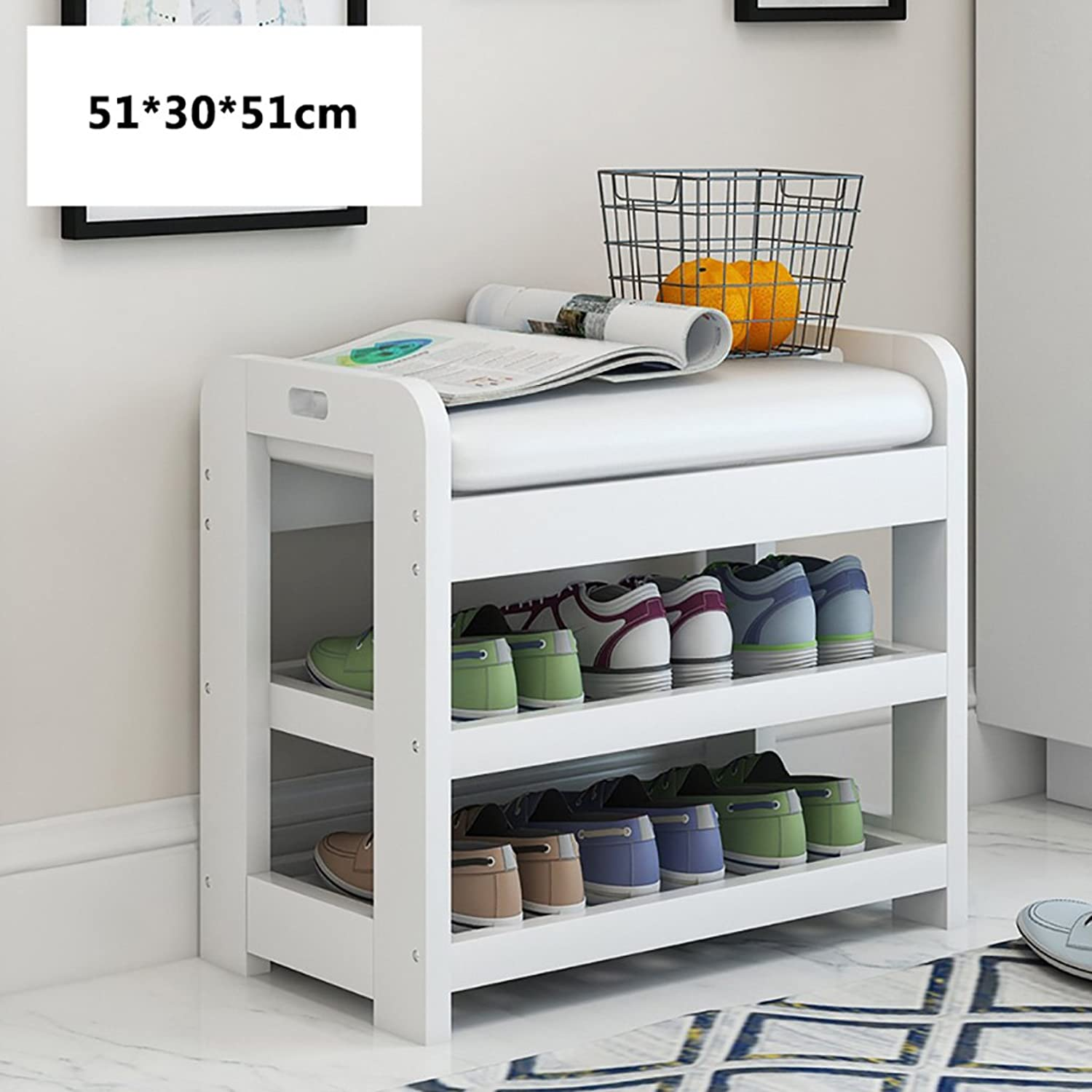 NSS shoes Racks 3 Tier shoes Bench Wooden Leather Storage Rack Living Room Bedroom Corridor shoes Bench (color   B)