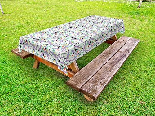 ABAKUHAUS Hawaii Tafelkleed voor Buitengebruik, Abstracte Bladeren van de Banaan, Decoratief Wasbaar Tafelkleed voor Picknicktafel, 58 x 120 cm, Veelkleurig