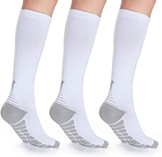 LAIWOO 3 Pairs Compression Socks Women Men 20-30mmHg Circulation Compression Stockings Nursing Socks for Nurse,Flight,Sports