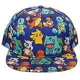 Pokemon The Original Starters Allover Print Snapback Cap Hat Licensed Blue