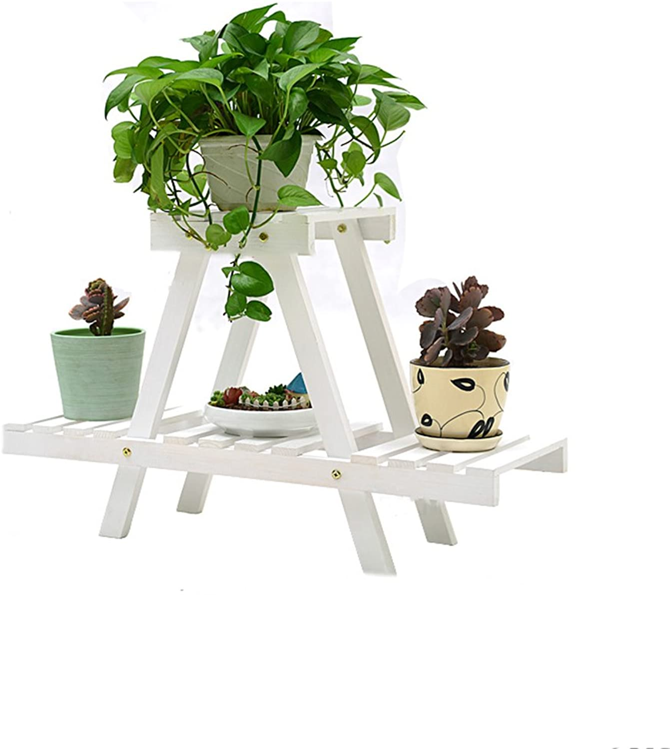 Plant Container Solid Wood Flower Racks Floor-Mounted Multi-Storey Flower Shelf Balcony Flower Pots Living Room Interior Wood Flower Stand (color   White)