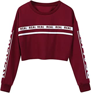 Makulas Pullover for Women Letter Print Crew Neck Long Sleeve Crop Top Tunics Casual Pullover Loose Blouse Sweatshirt