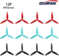 12pcs Gemfan 6042 (POPO) 3-Blade Propellers 6 inch Flash Props, Match for 2406 2407 Brushless Motor for FPV Drone Racing Frame(Red Black Blue) (Red Black Blue)