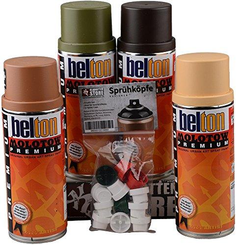 Sprühdosen Molotow PREMIUM Qualitätslack Camouflage Tarnfarben Militär Farben Set + Cap Pack