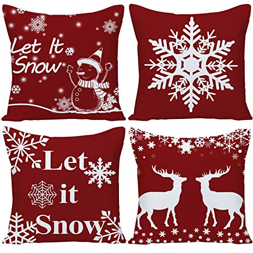Set of 4 Happy Winter Let It Snow Snowflakes in Dark Red Merry Cotton Linen Throw Pillow Case Cushion Cover New Home Office Decorative Square 20X20 Inches