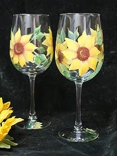 Hand Painted Wine Glasses - Sunflowers Yellow (Set of 2)