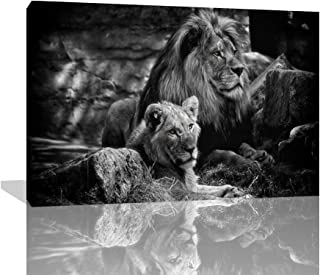 Black And White Gray Lion Head Portrait Wall Art Painting Pictures Print On Canvas Animal The Picture For Living Room Bedroom Dining Room Stretched By Wooden Frame Ready To Hang (24''W x 36''H)