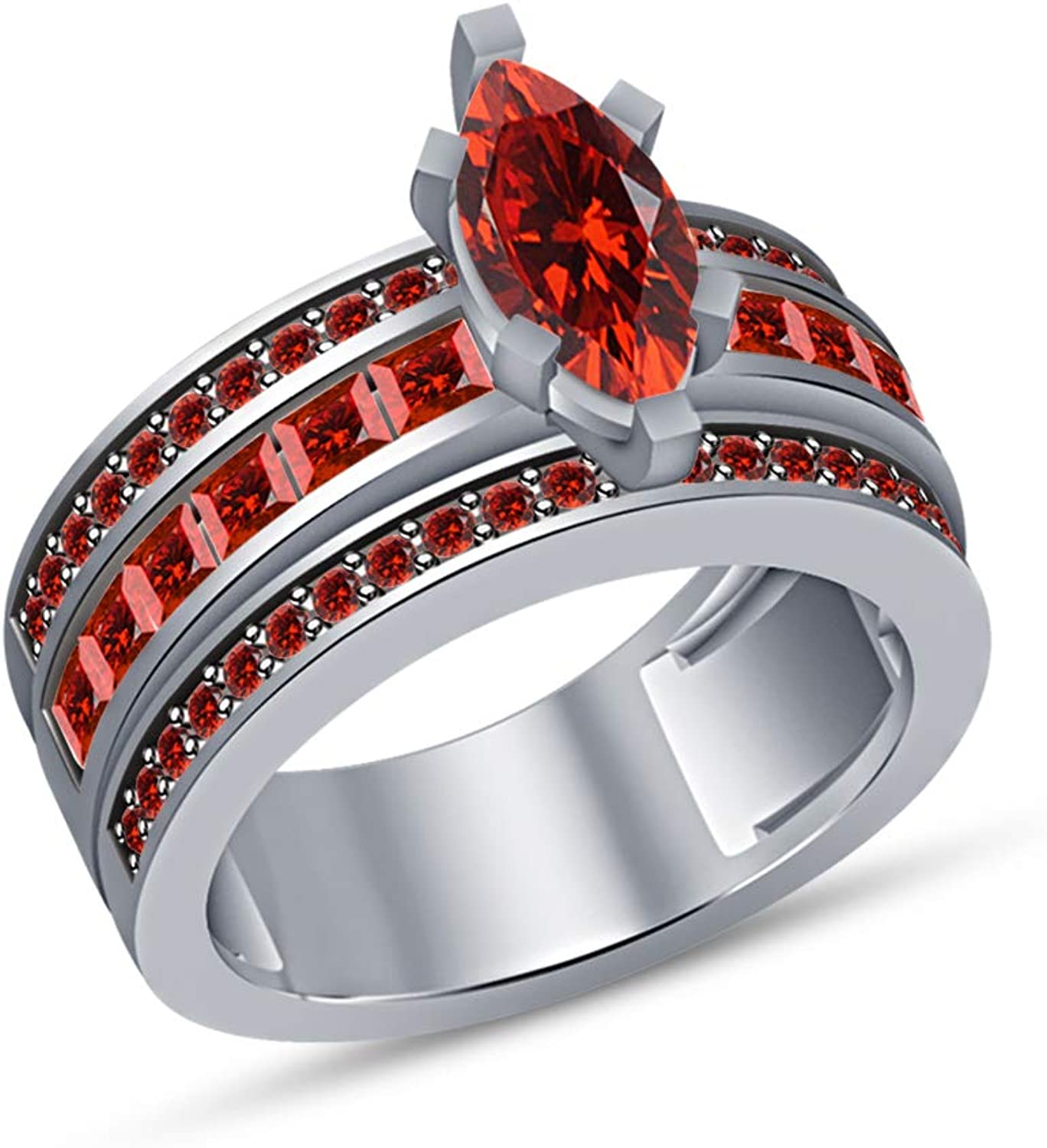 Vorra Fashion Engagement Ring for Women Marquise Shape Red Garnet in Solid White Platinum Plated