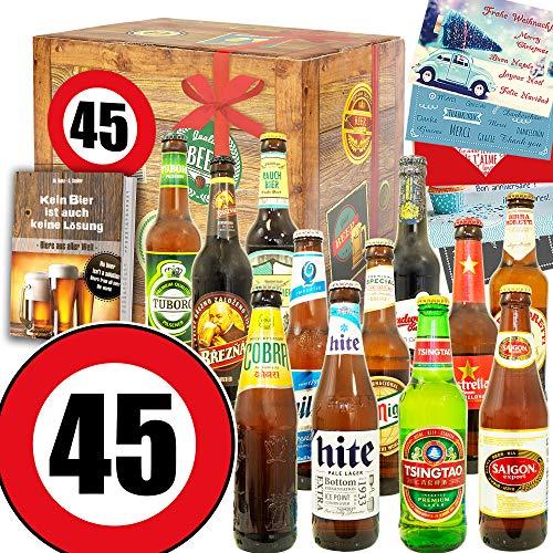 Geschenk zum 45. für Ihn/Bier Set Welt / 45 Geburtstag lustige Geschenke Mann