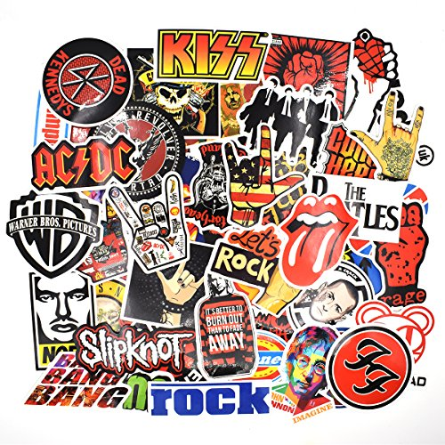Riao-Tech 55pcs Rock Band Punk Music Vintage Stickers for Laptop Guitar Travel Case Waterproof (Vintage-A)