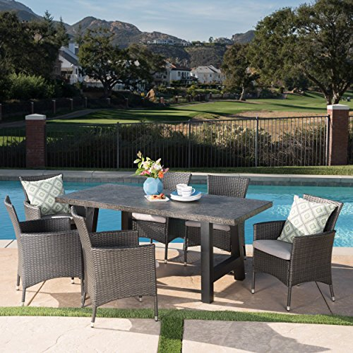Great Deal Furniture 303931 Muriel Outdoor 7 Piece Wicker Set with Grey...