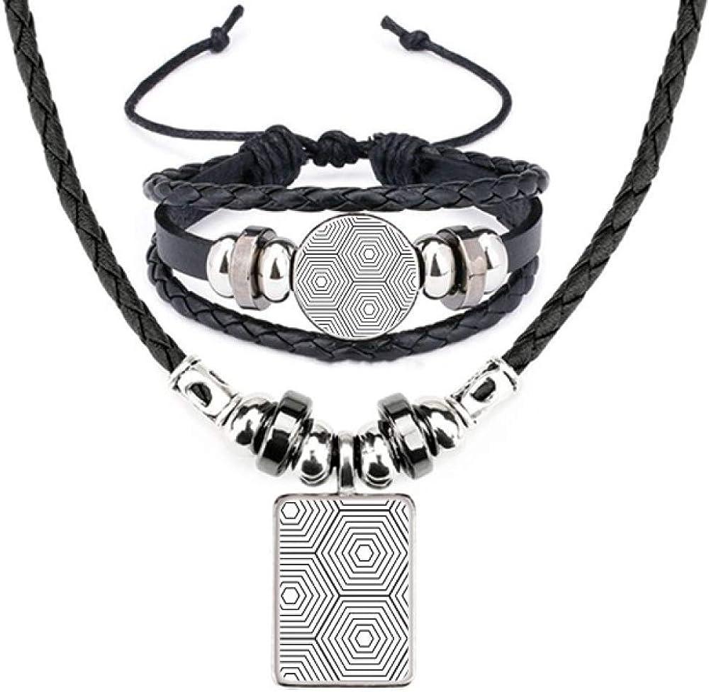 Hexagon Line Art Grain Illustration Pattern Leather Necklace Bracelet Jewelry Set
