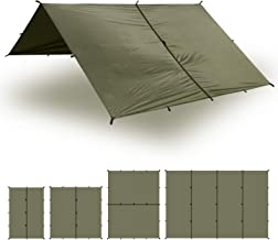 Aqua Quest Safari Tarp - 100% Waterproof Lightweight SilNylon Bushcraft Camping Shelter - 10x7, 10x10, 13x10, 20x13 Olive Drab or Camo