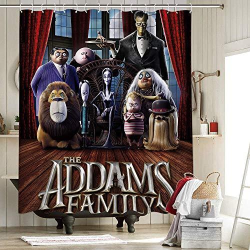 The Addams Family - Juego de cortina de ducha de tela para decoración de baño con ganchos, bloque, historias de terror raras, dibujos animados para niños, decoración de Halloween de 182 x 213 cm