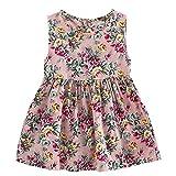 Vestito Senza Maniche Floreale Bambina Abito Estivi Casuale Ragazze 1-8 Anni(A3#Rosa,5-6 Anni)