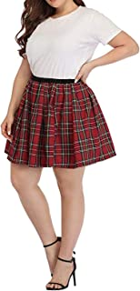 Xiaoqiao Plus Size Donna Plaid Schoolgirl Gonna Pieghe Mini Skater Gonne