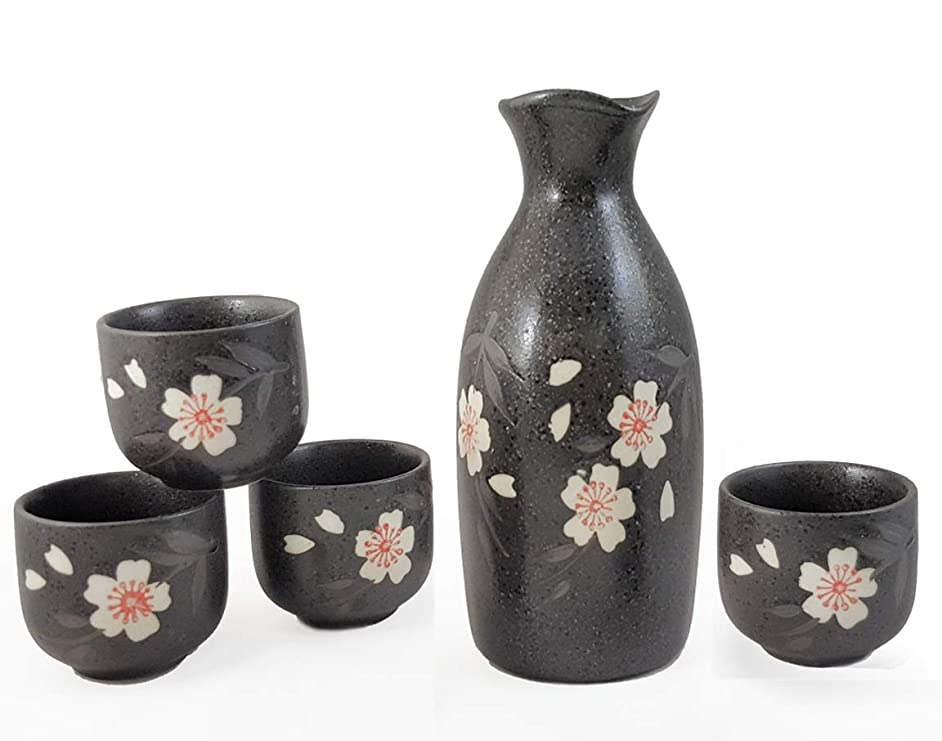 Happy Sales HSSS-WPB20, Black Porcelain Sake set Pink Blossom Design