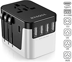 RXSQUL International Power Adapter, Universal Power Travel Adapter, W/5.6A 4USB+3.0A Type C, European Plug Adapter Converter,USB Wall Charger for Europe Canada UK US AUS Cell Phone (Black+White)