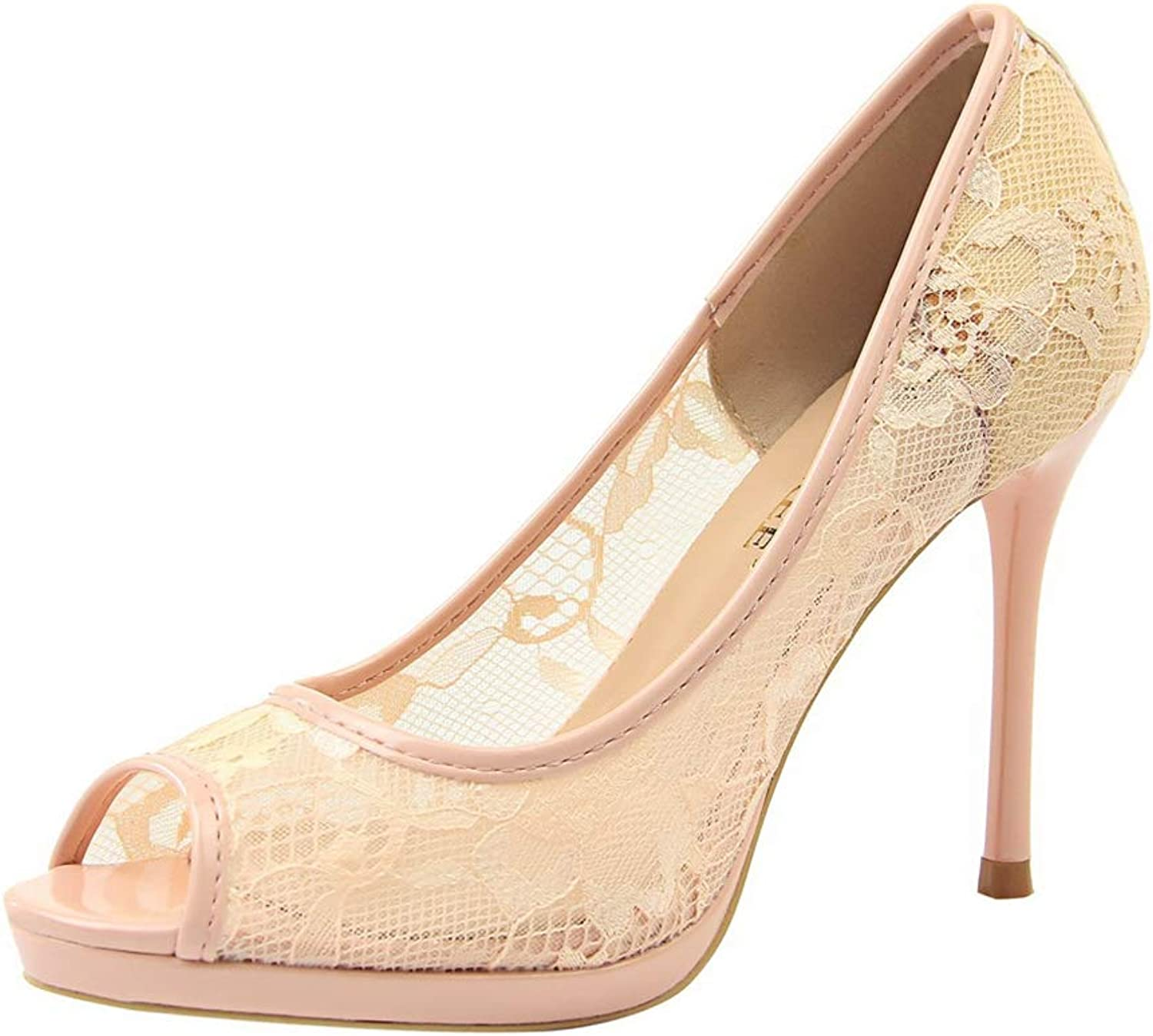 Sam Carle Women Pumps, Sexy Lace Hollow Out High Thin Heel Peep Toe Party Dating shoes