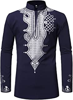 Mens Dashiki African Tribal Clothing Printed Long Henley Shirt Traditional Ethnic Slim Fit Outfit Plus Size