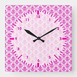 Dwi24isty Classic Wood Clock, Non Ticking Clock Chic Pink Damask Girly Square Wall Clock 12 Inch Decorative Clock for Kitchen Living Room