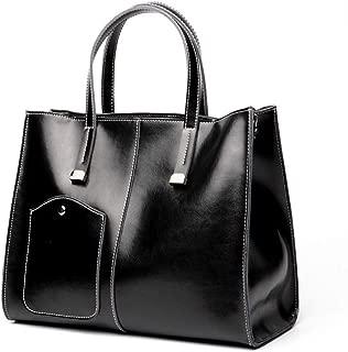 Fashion New Retro Casual Fashion Bills Shoulder Slung Large Capacity Women's Bag Leather Handbag (Color : Black)