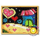 Latch Hook Kits Kits de Gancho de Cierre de Cruz Sofá Cojín Alfombra Alfombra de Felpa con Herramienta Básica e Instrucciones para Hacer Alfombras,Love Home,52x38cm/20x15 in