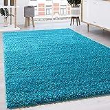 Shaggy - Tappeto A Pelo Lungo in Diversi Colori E Misure, Dimensione:140x200 cm, Colore:Turchese