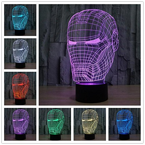 Hollywood Sci-Fi Filmstar Superheld Spinne Eisen Buddha Knihgt Head Wars Tischlampe Cartoon Raumschiff 3D Nachtlicht LED Kinder Geschenk Dekoration
