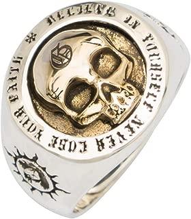 Anillo de Calavera Skull Oro con Totem Sol de Plata de Ley 925 para Hombres Mujeres Talla Ajustable 15-26