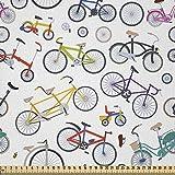 ABAKUHAUS Bicicleta Tela por Metro, Bicicletas Retro Colorido, Microfibra Decorativa para Artes y...