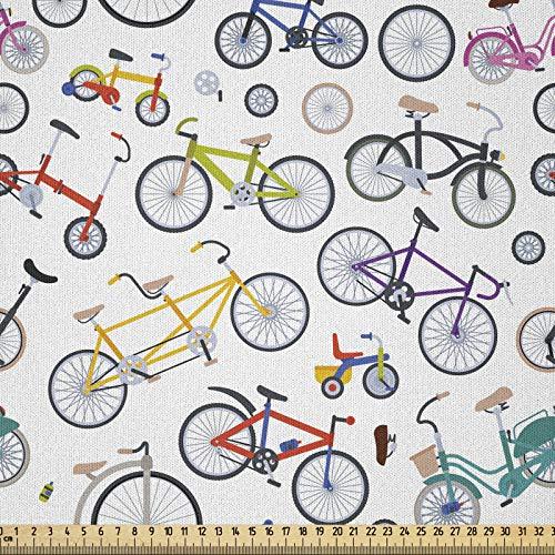ABAKUHAUS Bicicleta Tela por Metro, Bicicletas Retro Colorido, Microfibra Decorativa para Artes y Manualidades, 1M (230x100cm), Multicolor