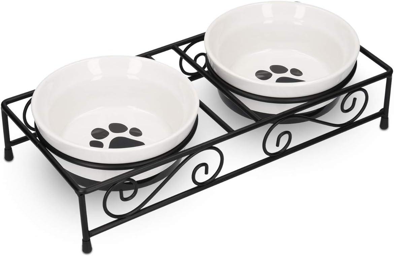 Navaris 2X Cuenco Elevado para Mascotas - Comedero y Bebedero Doble de cerámica para Perros Gatos Cachorro - Cuencos elevados con Soporte de Metal