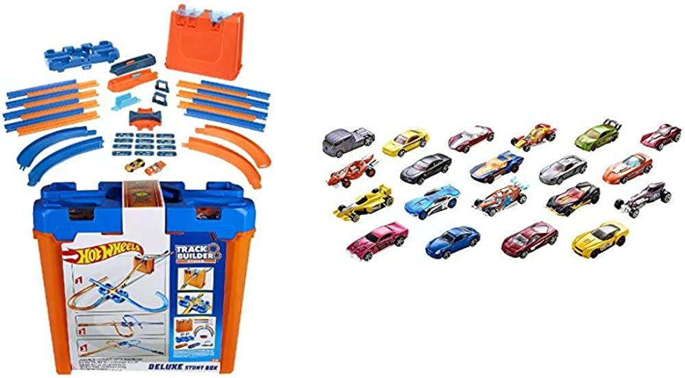Hot wheels,20 macchinine con componenti pista assortiti H7045