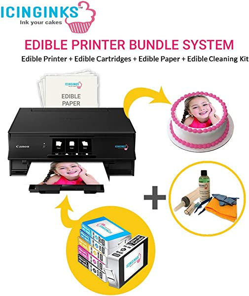 Icinginks Latest Edible Printer Cleaning Kit Edible Cartridges 50 Icing Sheets Birthday Cupcake Toppers Cake Decorating Canon Edible Printer