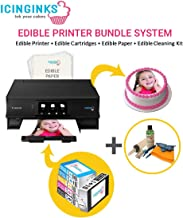 Icinginks Latest Edible Printer, Cleaning Kit, Edible Cartridges, 50 Icing Sheets, Birthday Cupcake Toppers Cake Decorating Canon Edible Printer