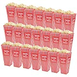 Fasmov 21 Pack 7.7 Inches Plastic Open-Top Popcorn Boxes Reusable Popcorn Container Set for movie night or movie party theme, Red & White