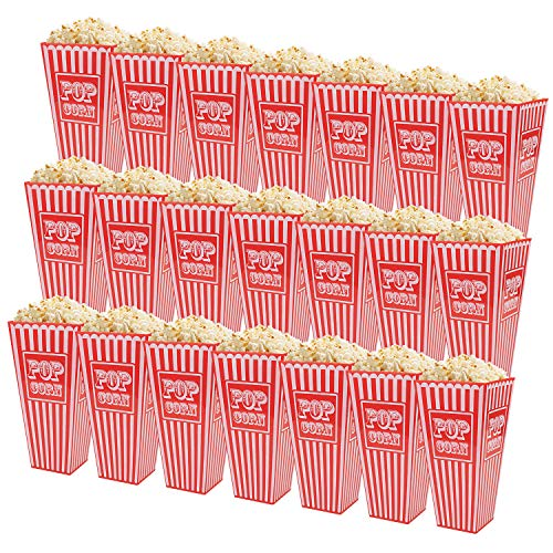 Fasmov 21 Pack 7.7 x 4 Inches Plastic Open-Top Popcorn Boxes Reusable Popcorn Container Set for movie night or movie party theme, Red & White