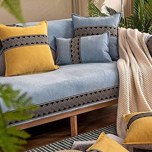 Yunzhong - Copridivano per divano per bambini e animali domestici in stile nordico in ciniglia, protezione per mobili, resistente all'acqua, antiscivolo, 110 x 240 cm, colore: azzurro