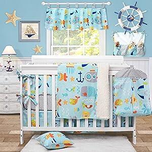 Ocean Baby Boy Crib Bedding Set Blue Nautical Bedding for Baby Boy Nursery Toddler Bedding Set Navy Anchors Print, Gray Chevron Print