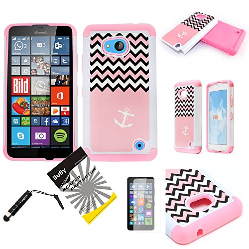 For Nokia/ AT&T GoPhone/ Microsoft Lumia 640 /3items Combo: Screen Protector + Stylus Pen + Dual Layer Shockproof Impact Resistance Hybrid Armor Case (Pink Anchor Chevron)