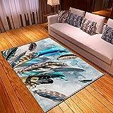 YDyun Dormitorio Sala de Estar Antideslizante Alfombra de la para el Juego de los niños Decora el Plumas de Colores...