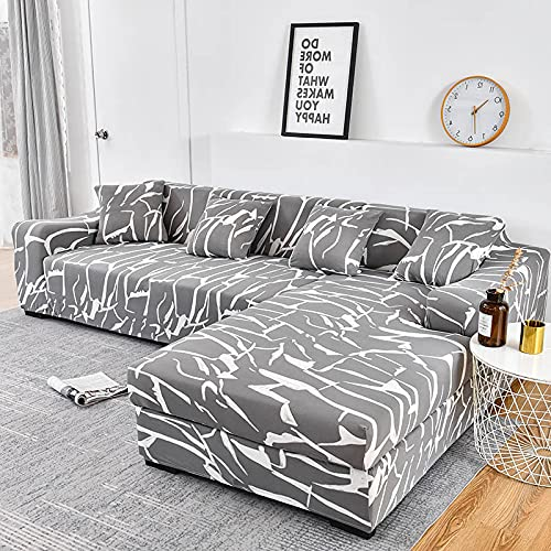 WXQY Elastic lattice sofa cover L type need to order 2 pieces of sofa cover, elastic all-inclusive dustproof sofa cover A29 3 seater