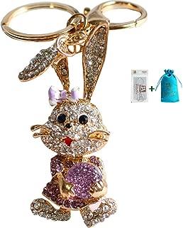 Bolbove Long Ears Bowtie Rabbit Carrying Diamond Keychain Crystal Keyring Rhinestones Purse Pendant Handbag Charm (Purple)