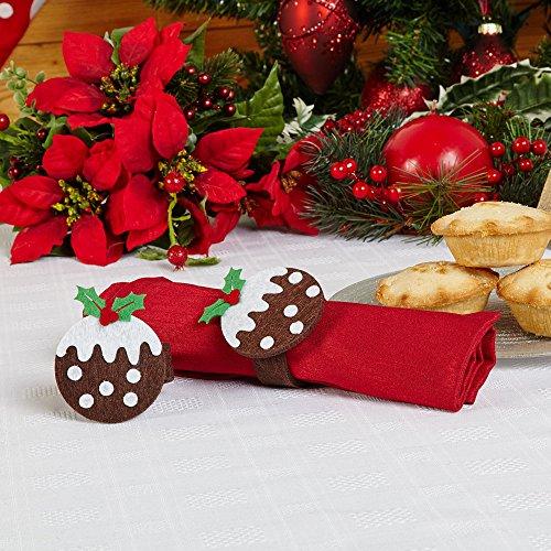 Servilletero de fieltro con diseño de pudín navideño (4