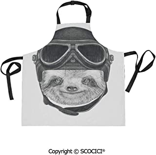SCOCICI Adjustable Bib Apron Waterdrop Resistant Cooking Kitchen Aprons,Hand Drawn Portrait of a Sloth with Vintage Helmet Airman Biker Animal in Urban Life for Chef Baking Gardening