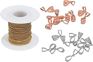 Baoblaze Jewelry Making Kit 20 Pieces Pinch Clips Bail Clasp And 10 Yards Metal Chains