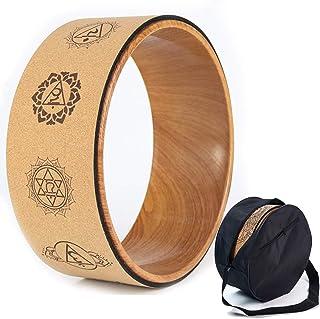Kork yogahjul, naturliga och bekväma pilates dharma rekvisita för att förbättra flexibiliteten, uppsättning monteringspåse