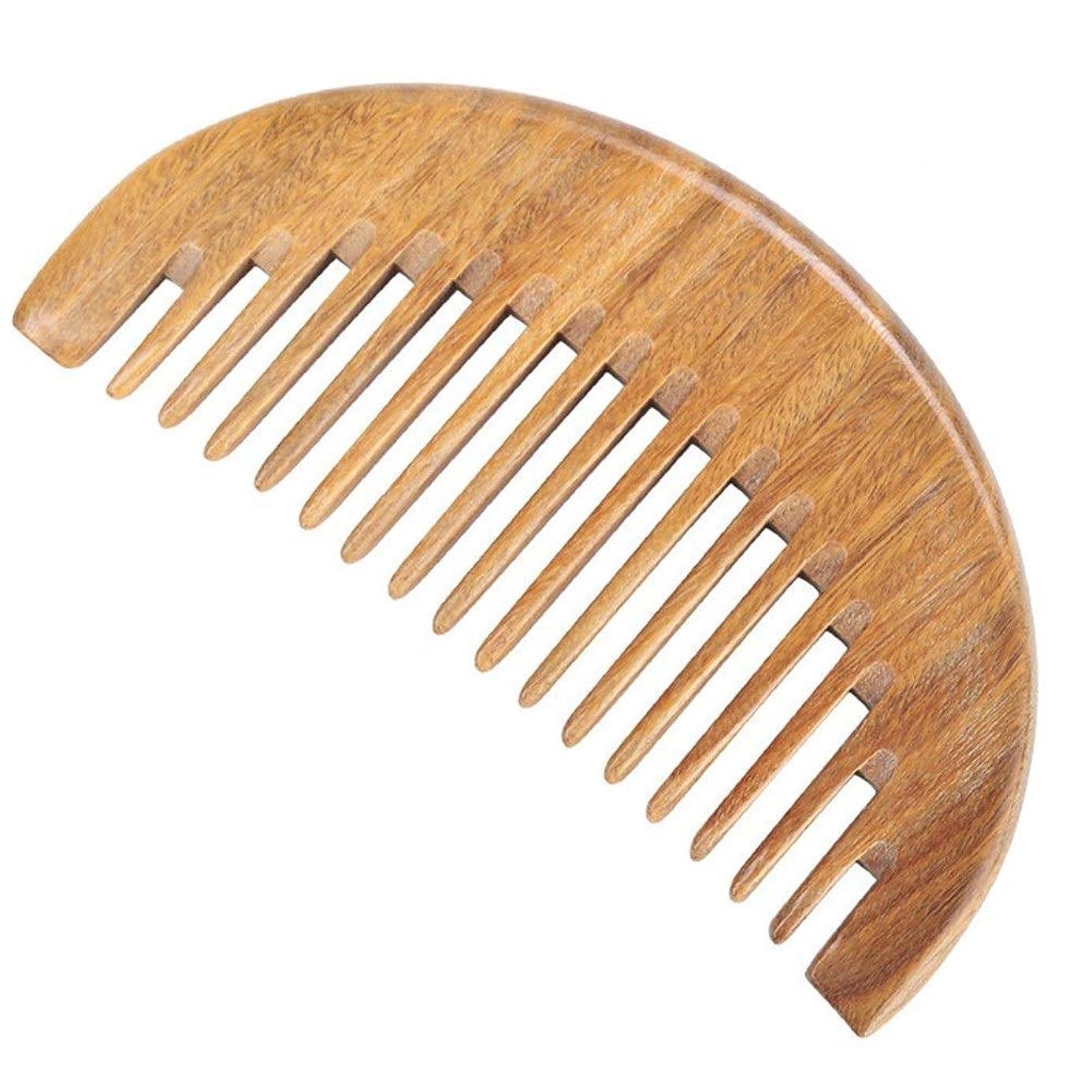トレイ邪魔する不純Guomao グリーンビャクダンの櫛全体の半円形の広い歯の厚さ (Size : 12*5 cm)