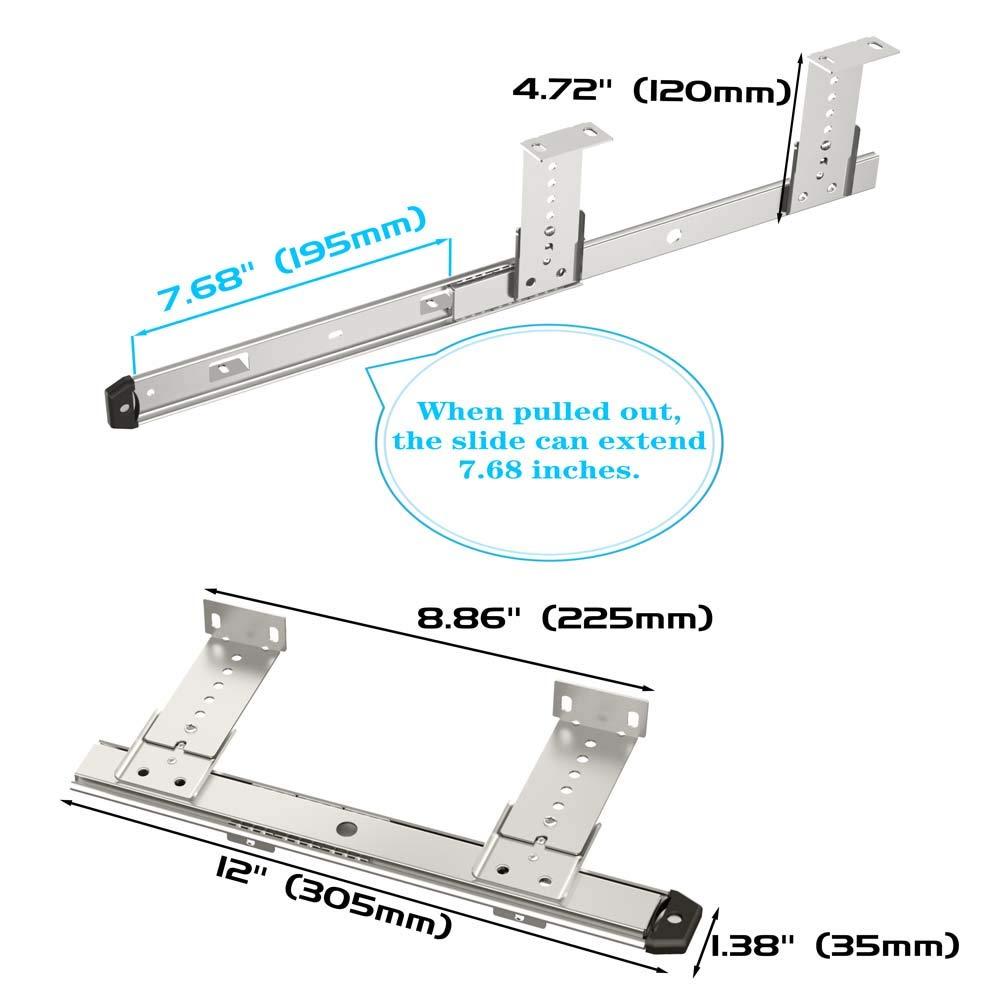 FRMSAET Sliding Keyboard Drawer Tray Hardware 306//356//406//456 mm Slides Metal Drawer Keyboard Slides Mounting Accessories//Ideal for Under Desk Kitchen Cabinet Drawer,One Set 356 mm, Silver